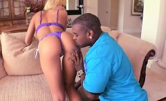 Hot blonde dicked down by black guy