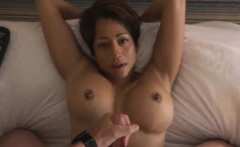 Short-haired busty beauty cocksucking