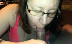 She sucks his cock but she doesn't swallow