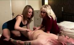 older cfnm guy strips and gets handjob from british girls