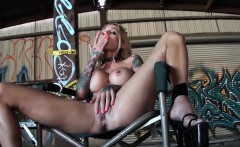 sarah jessie fingers her pussy ass in an empty warehouse