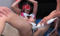 Tiedup asian chick gets toyed and sucks cocks