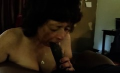 Amateur granny devouring a big black shaft