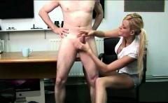 British CFNM blonde babe giving a handjob to naked guy