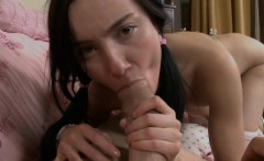Hunk is licking babe's bald wet crack at the kitchen counter