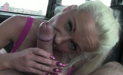 Busty Brit gets to fuck her public cab driver hard
