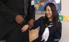 Asian teen taking black penis