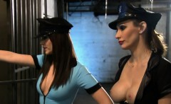 Two sexy ladies foursome in jail cell while the wardens
