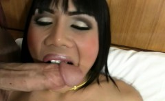 Exotic ladyboy beauty exposes long cock and blowjobs in POV