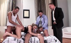 Saucy slut gets fucked in a gangbang