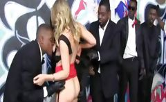 Blonde Gives Service To Blacks
