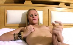 Blonde shemale spreads her long legs and pumps thick shecock