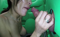 Milf sucking cock and swallowing cum in parks parking lot