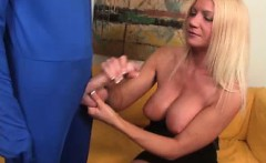 Blonde MILF Christina Skye is greeted by Mr. Penis. A