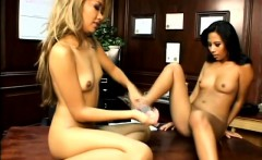 Striking Oriental nymphos engage in torrid lesbian sex in the office