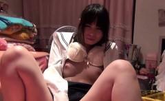 Asian schoolgirl rubs