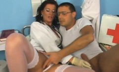 sultry brunette in white lingerie enjoys a hard fucking in the clinic