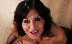 sexy honey gets cum shot on her face gulping all the cum