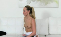 Auditioning beauty strapon banged on couch