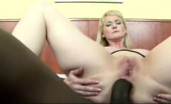 Lusty blonde cougar takes an anal cream pie courtesy of a huge black cock