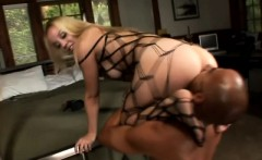 hot blonde in fishnets has a kinky guy licking her feet and her holes