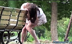 Asian whore peeing park