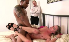 Kinky husband watches his busty wife feeding her desire for black cock