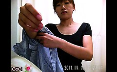 Japanese girls are getting dressed and caught on a hidden c