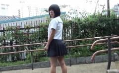 Asian whore rides dildo