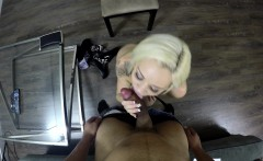 Sensual blonde displays her marvelous body and her amazing oral skills