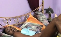 gorgeous ebony babe plays with toy and fucks white boy