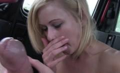 Blonde flashing big arse in fake taxi