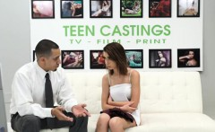 Larah shows her perky tits during casting