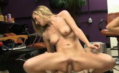 Tight blonde hottie threesome session in local store