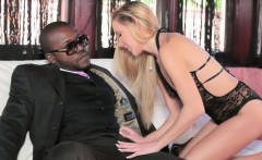 Stunning Blonde Teen Banged By Big Black Cock On The Couch