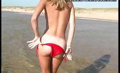 blond teen flashing at beach