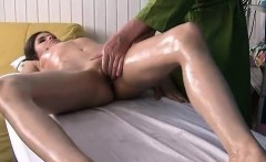 Hard fucking brunette at massage exhausted