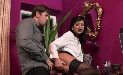 Staggered beauty in lingerie is geeting peed on and penetrat