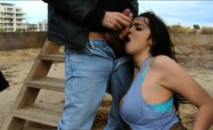 huge boobies whore gets her pussy pounded in public location