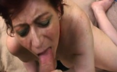Horny granny Tamara plays with pussy while sucking hard cock