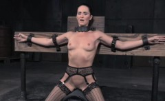Restrained sub skank gets pussy punishment