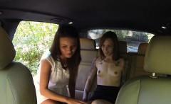 Female cab driver licks her customer