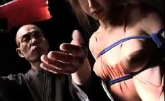 tranny jerks off and then gets tied up and covered in hot w