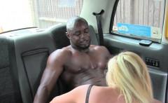 Blonde cab driver sucking huge black cock