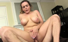 Bodacious blonde beauty working her shaved pussy on a throbbing dick