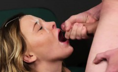 slutty bombshell gets cum shot on her face eating all the se