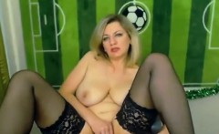 Blonde Russian masturbating on webcam