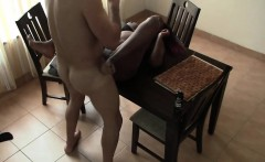 African ebony babe kitchen fucking interracial