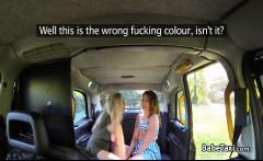 Female taxi driver fucks busty blonde lesbian