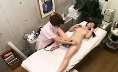 Slender Asian girl is made to enjoy strong orgasms on the m